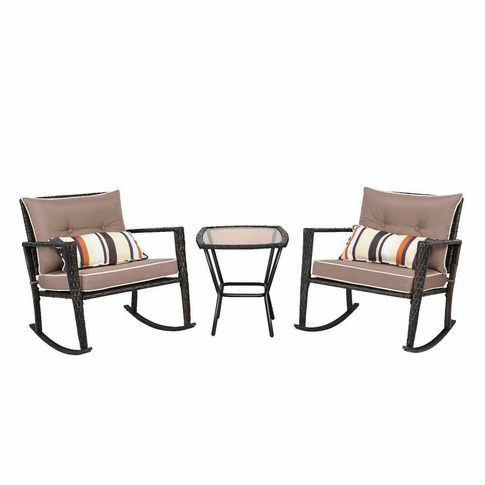 3 PC Patio Rattan Wicker Furniture Set Rocking Chair Coffee Table Cushions Home