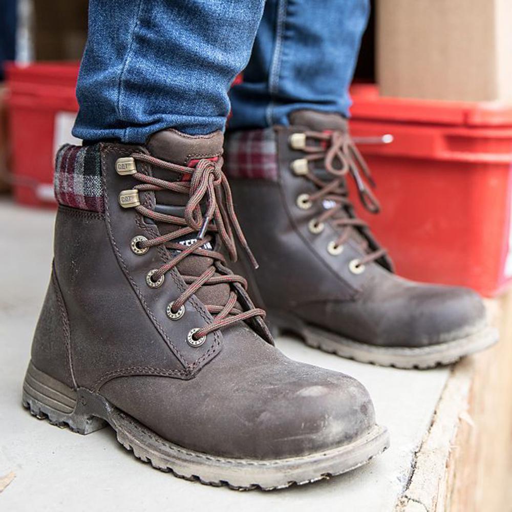 largest selection of modern style search for original CAT Footwear Women's Kenzie 6'' Work Boots - Steel Toe - Bark Size 5(M)