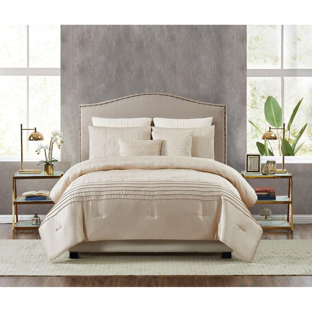 Noelle 7-Piece Gold Queen Comforter Set