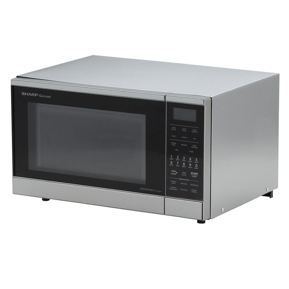 Sharp 0 9 Cu Ft 900 Watt Counter Top Convection Microwave In Stainless Steel
