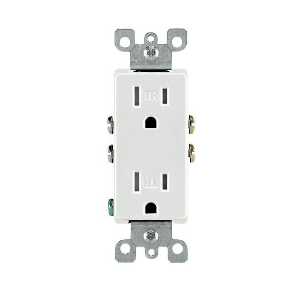 Decora 15 Amp Residential Grade Tamper Resistant Self Grounding Duplex Outlet, White
