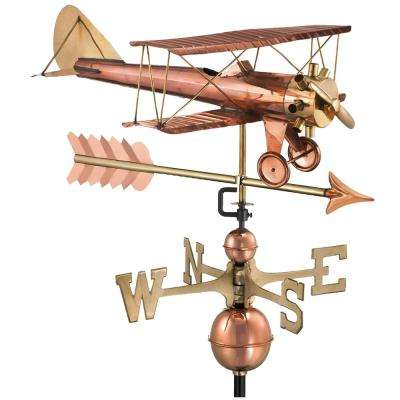 Biplane with Arrow Weathervane-Pure Copper