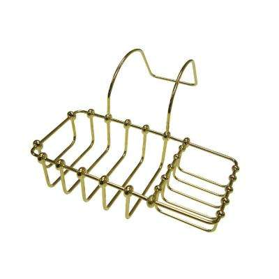 Soap and Sponge Claw Foot Bathtub Caddy in Polished Brass