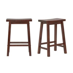 Stupendous Stylewell Stylewell Walnut Finish Saddle Backless Counter Pdpeps Interior Chair Design Pdpepsorg