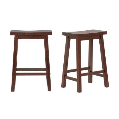 StyleWell Walnut Finish Saddle Backless Counter Stool (Set of 2) (16.33 in. W x 24 in. H)