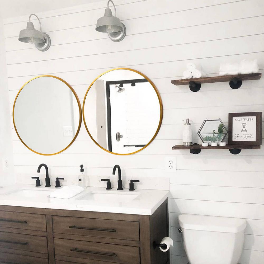 Neutype Medium Round Gold Shelves Drawers Modern Mirror 24 In H X 24 In W Jj00760zze The Home Depot