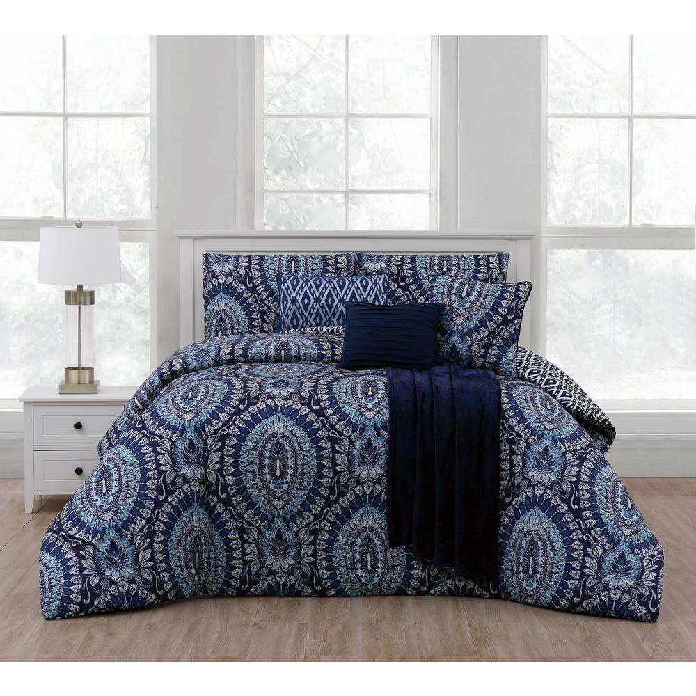 Kalden 7 Piece Blue Queen Comforter Set W Throw