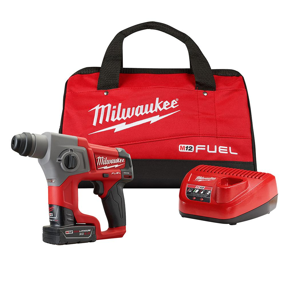 Milwaukee M12 FUEL 12-Volt Lithium-Ion 5/8 in. Brushless Cordless SDS-Plus Rotary Hammer Kit W/ One 4.0Ah Battery & Bag