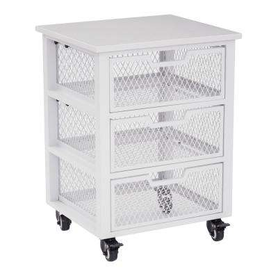 Clayton White Metal Frame 3-Drawer Rolling Cart