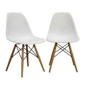 Azzo White Plastic Dining Chairs (Set of 2)
