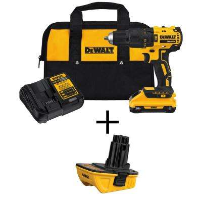 20-Volt Max Lithium-Ion Cordless Brushless 1/2 in. Compact Hammer Drill with Bonus  20-Volt Adapter for 18-Volt Tools