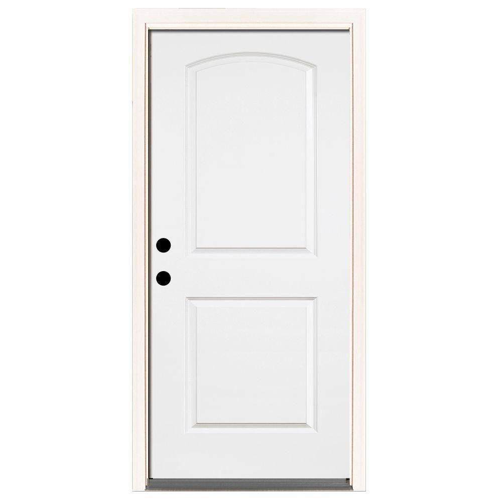 Steves & Sons 36 in. x 80 in. Premium 2-Panel Roundtop Right-Hand Inswing Primed White Steel Prehung Front Door with 6-9/16 in. frame