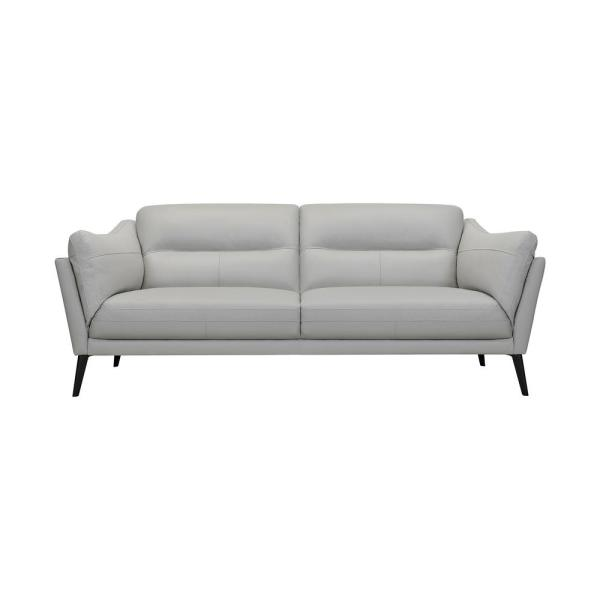 Franz 87 in. Modern Dove Gray Leather Sofa
