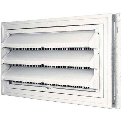 9-3/8 in. x 17-1/2 in. Foundation Vent Kit w/ Trim Ring and Optional Fixed Louvers (Galvanized Screen) #117 Bright White