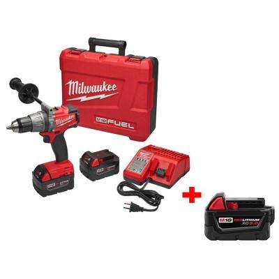 M18 FUEL 18-Volt Lithium-Ion Cordless Brushless 1/2 in. Hammer Drill/Driver Kit with Free M18 18-Volt XC 5.0Ah Battery