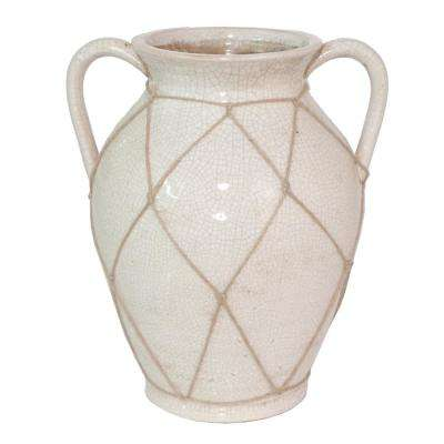 White Ceramic Decorative Vase with Mesh Rope