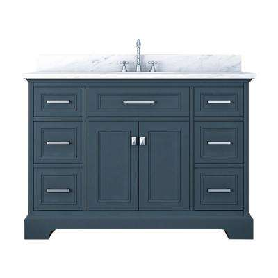 Laxton 49 in. W x 34 in. H Bath Vanity in Gray with Marble Vanity Top in White with White Basin