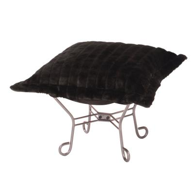 Scroll Puff Ottoman With Cover, Titanium Frame, Mink Black