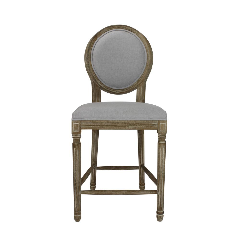 Peachy Louis 24 In Weathered Grey Upholstered Round Counter Chair Ncnpc Chair Design For Home Ncnpcorg