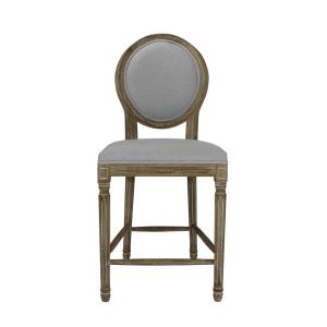 Fantastic Louis 24 In Weathered Grey Upholstered Round Counter Chair Bralicious Painted Fabric Chair Ideas Braliciousco