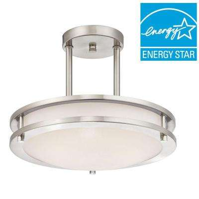 75-Watt Brushed Nickel Integrated Dimmable ENERGY STAR LED Semi-Flush Mount