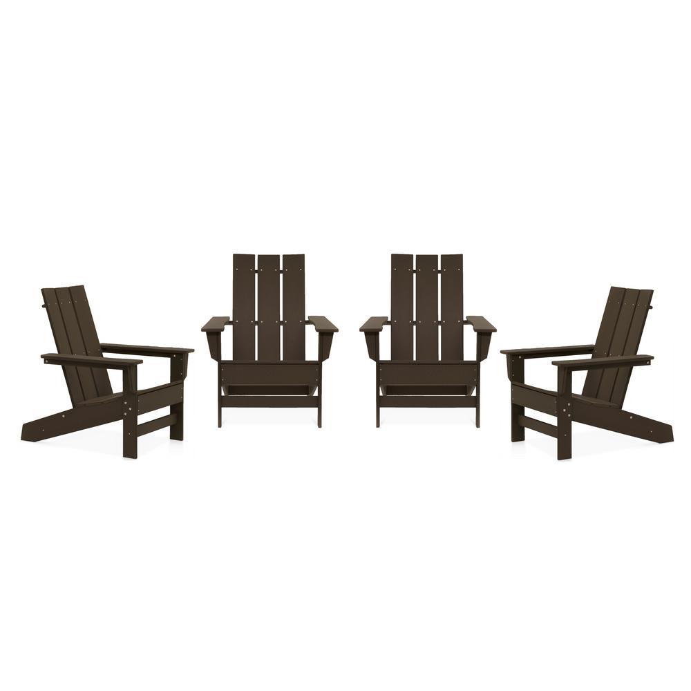 Aria Chocolate Recycled Plastic Modern Adirondack Chair (4-Pack)
