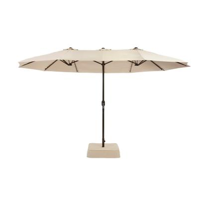 8.8 ft. x 14 ft. Triple Vent Outdoor Patio Umbrella in Beige with Sand Bag Base
