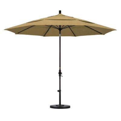 11 ft. Fiberglass Collar Tilt Double Vented Patio Umbrella in Champagne Olefin
