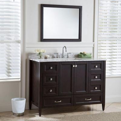 Claxby 49 in. W x 22 in. D Bathroom Vanity in Chocolate with Stone Effect Vanity Top in Winter Mist