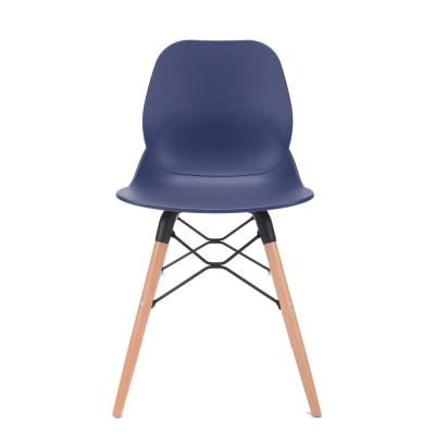 Joy Series Navy Dining Shell Side Designer Task Chair with Beech Wood Legs (Set of 2) - Great for Home, Office