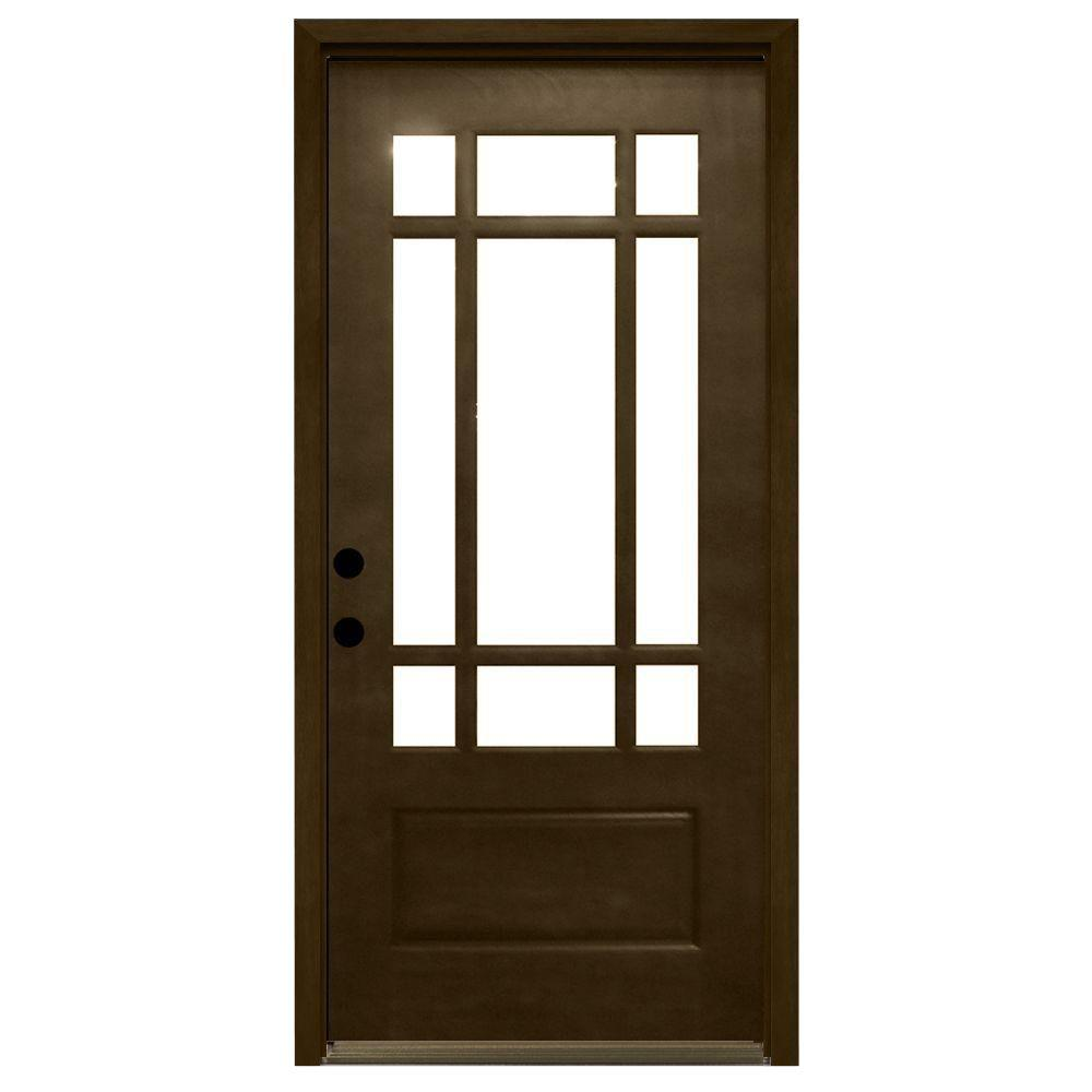36 in. x 80 in. Craftsman 9 Lite Stained Mahogany Wood