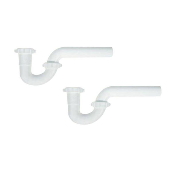 1-1/2 in. White Plastic Sink Drain P-Trap with Reversible J-Bend (2-Pack)