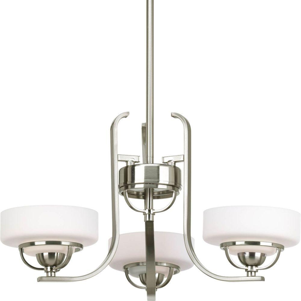 Progress Lighting Torque Collection 3-Light Brushed Nickel Chandelier