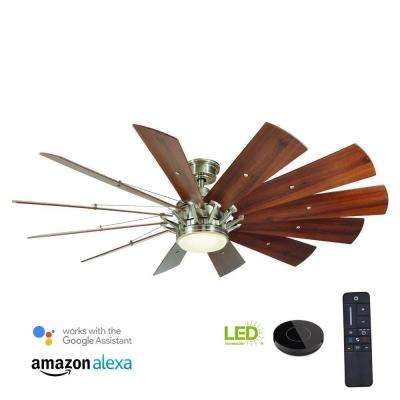 Trudeau 60 in. LED Indoor Brushed Nickel Ceiling Fan  with Light Kit works with Google Assistant and Alexa
