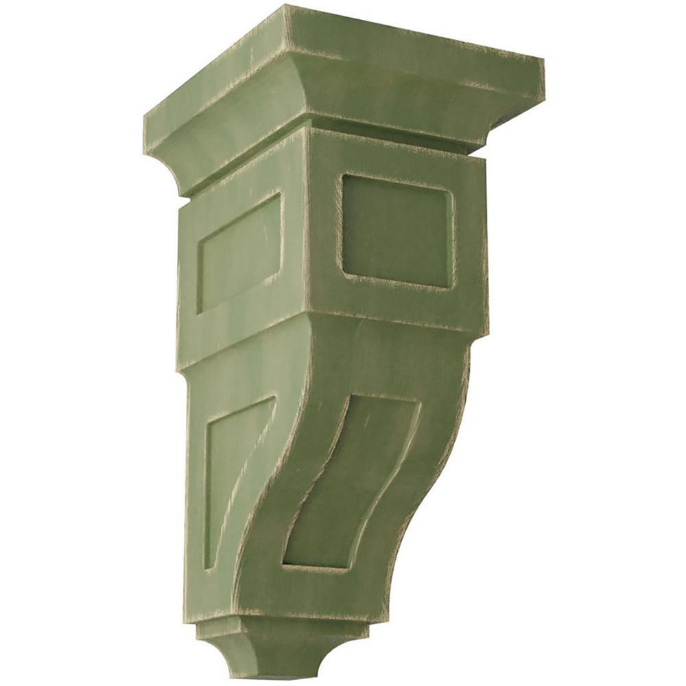 6 in. x 12 in. x 6-3/4 in. Restoration Green Large Reyes Wood Vintage Decor Corbel