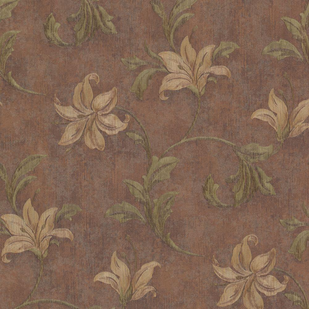 Mirage 56 sq. ft. Palace Copper Floral Scroll Wallpaper
