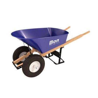 6 cu. ft. Folded Steel Tray Wheelbarrow with 4-Ply Knobby Double Wheel Tires and Wood Handles