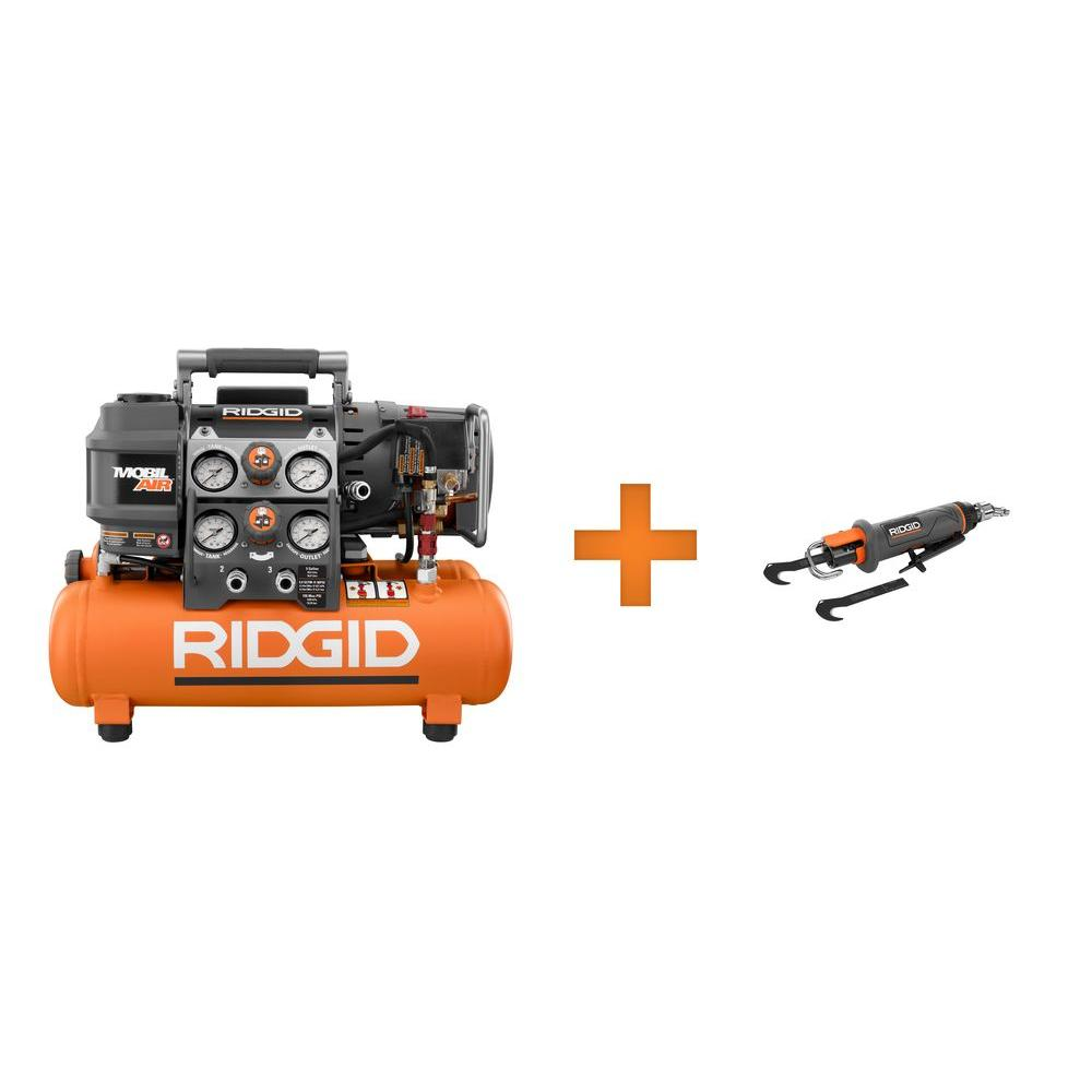 RIDGID Tri-Stack 5 Gal. Air Compressor and Roofing Cutter Combo Kit