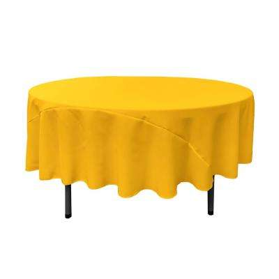 90 in. Round Dark Yellow Polyester Poplin Tablecloth