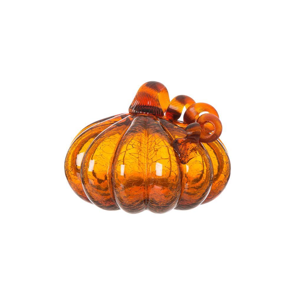 Glitzhome 5.51 in. H Pumpkin Crackle Glass in Amber