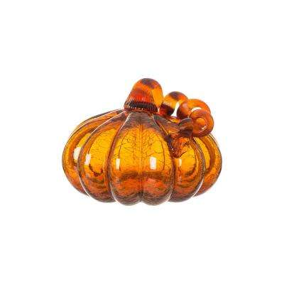 5.51 in. H Pumpkin Crackle Glass in Amber