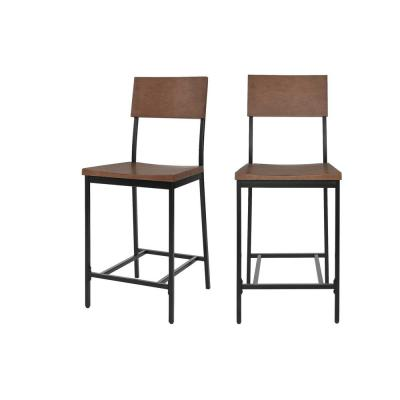 Porter Black Metal Counter Stool with Back and Haze Oak Finish Seat (Set of 2) (16.93 in. W x 40 in. H)