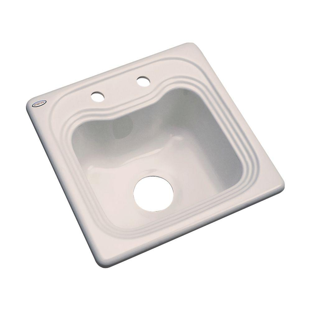 Thermocast Oxford Drop-In Acrylic 16 in. 2-Hole Single Bowl Entertainment Sink in Shell