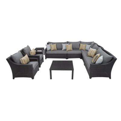 Deco 9-Piece Patio Corner Sectional and Club Chair Set with Charcoal Grey Cushions