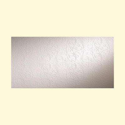 Damask 96 in. x 48 in. Decorative Wall Panel in Gloss White