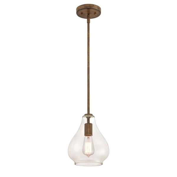 Wes 1-Light Barnwood Mini Pendant with Clear Glass Shade