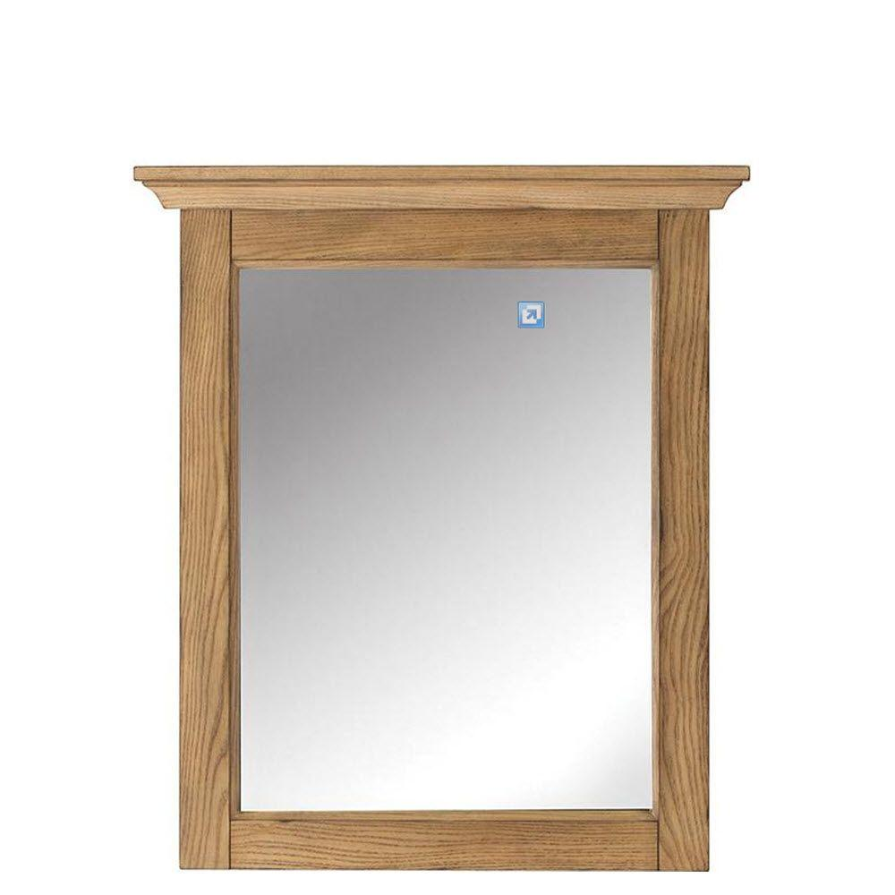 Unbranded Marlo 30 in. H x 26 in. W Weathered Oak Framed Mirror ...