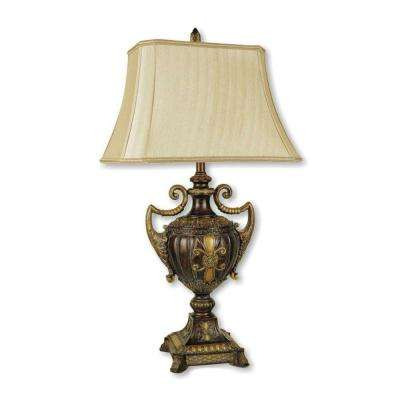 30 in. Urn-Shape Antique Gold Table Lamp