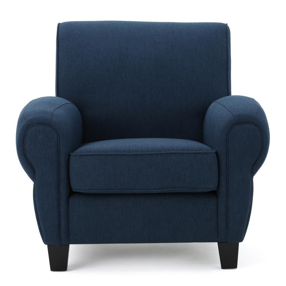 Noble House Finley Dark Blue Fabric Club Chair 299867 The Home Depot