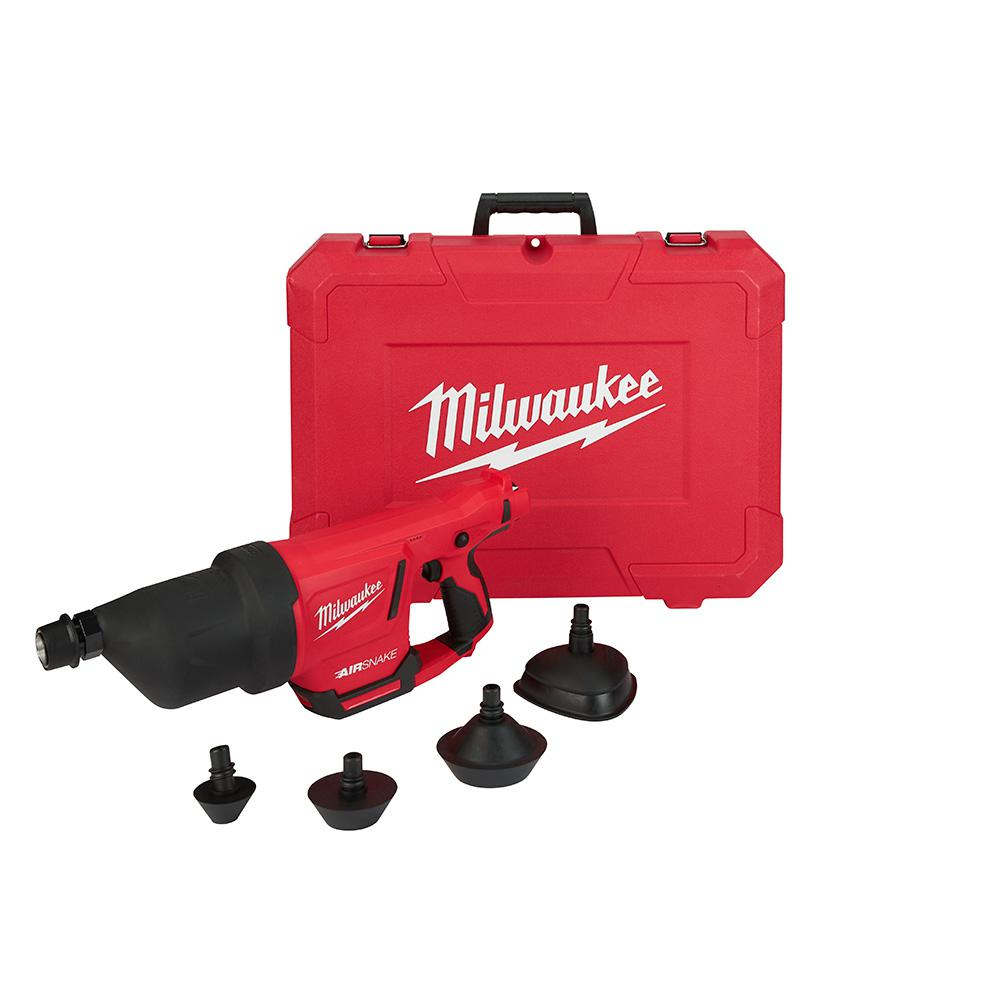 Milwaukee M12 12-Volt Lithium-Ion Cordless Drain Cleaning Airsnake Air Gun  (Tool-Only) with Attachments